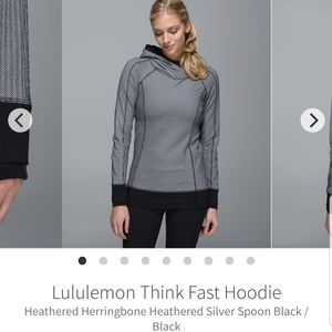 Lululemon think fast hoodie black and grey size 8